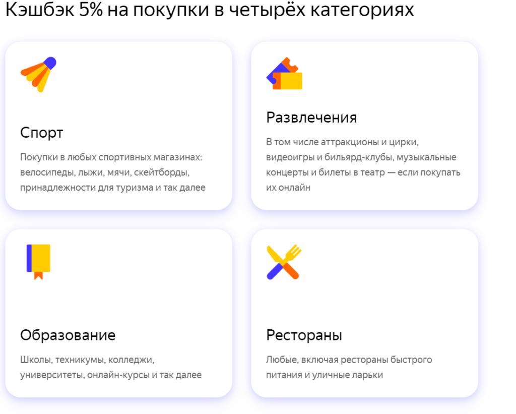 Категории кэшбэка по карте Яндекс.Плюс