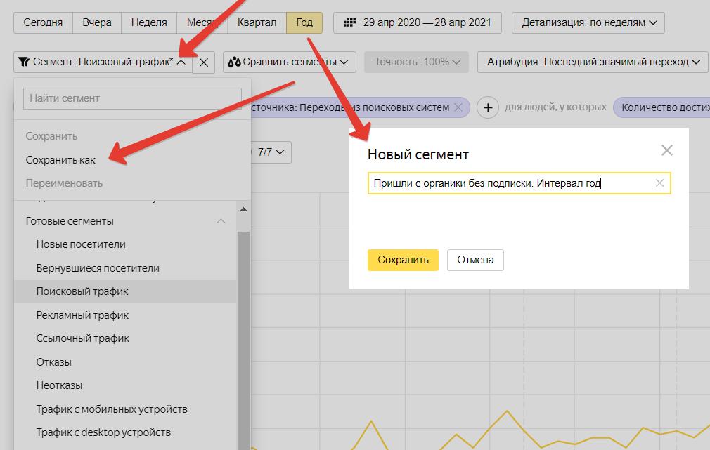 Как создать сегмент в Яндекс Метрике