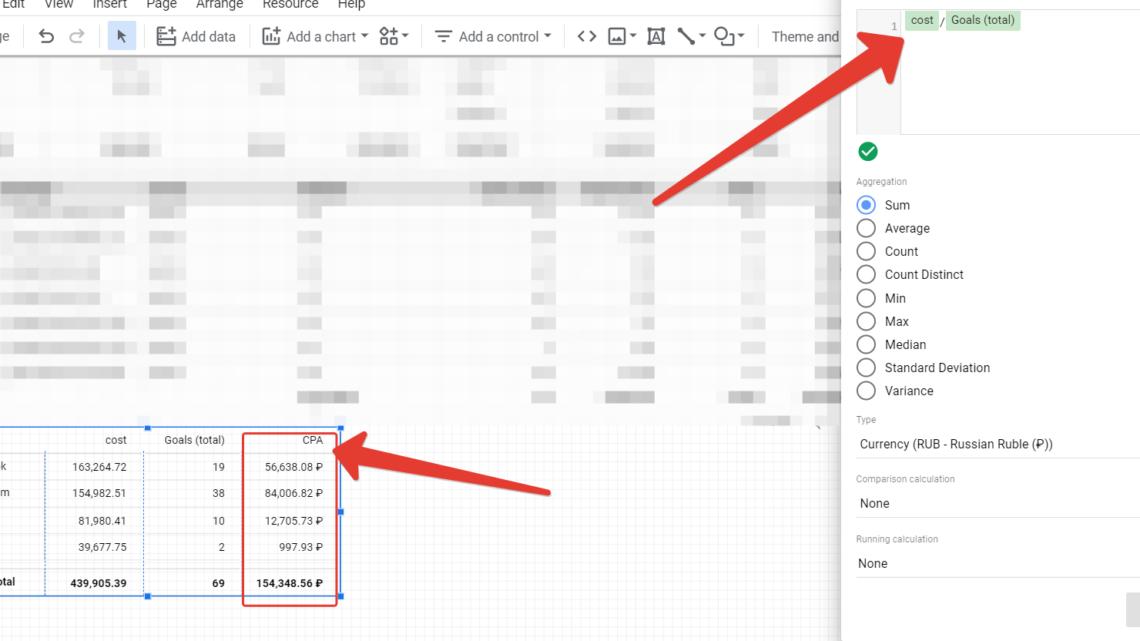 Вычисляемое поле для сводной таблицы в Google Data Studio